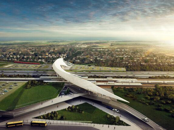 Obliquo Design, render for Køge train station, Kengo Kuma project