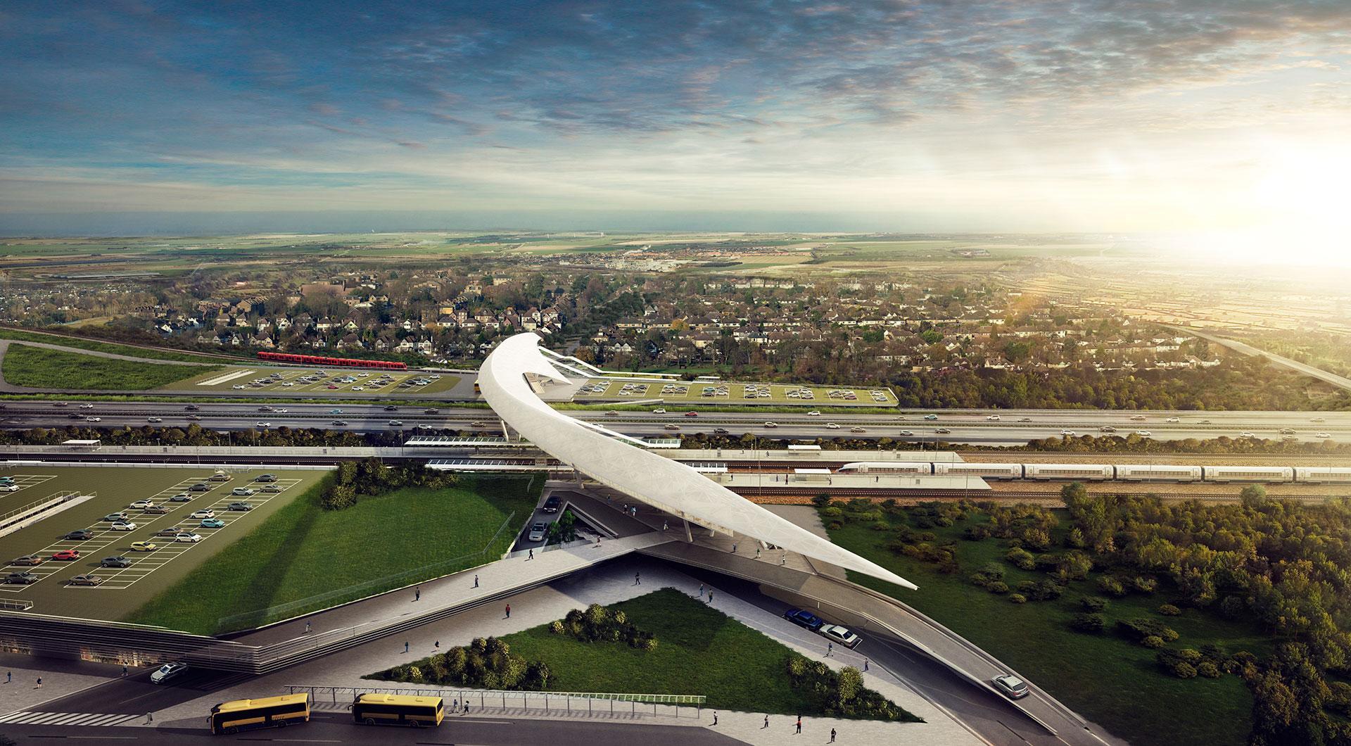 Obliquo Design, render for Køge train station, Kengo Kuma project